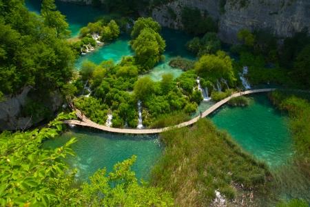 Aerial view at Plitvice lakes, Croatia photo