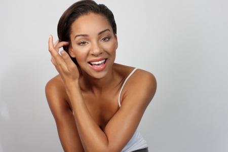 hazel eyes: Beautiful woman smiling with hazel eyes