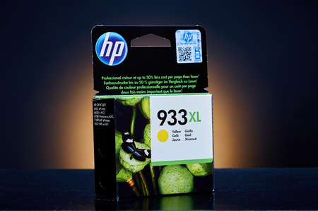 ink jet: Umag, Croatia - 28 October 2015: Packet of Hewlett Packard 933XL Yellow ink for a ink jet printer