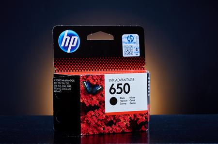 ink jet: Umag, Croatia - 28 October 2015: Packet of Hewlett Packard 650 BK ink for a ink jet printer Editorial