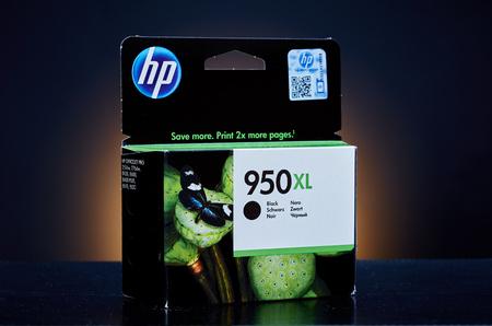 ink jet: Umag, Croatia - 28 October 2015: Packet of Hewlett Packard 950XL BK ink for a ink jet printer