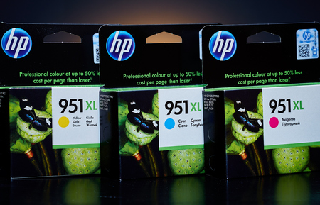 hp: Umag, Croatia - 28 October 2015: Packet of Hewlett Packard 951XL Cyan, Magenta and Yellow ink for a ink jet printer Editorial