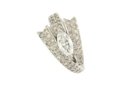 closeup of a diamond right hand ring isolated on white