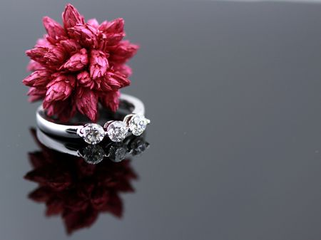 diamond engagement ring closeup with red seed pod reflecting on black background