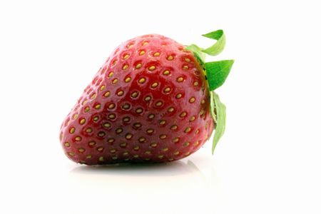 closeup of fresh strawberry isolated on white