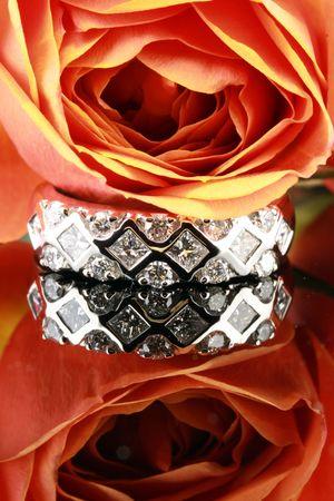 wedding ring reflecting on background