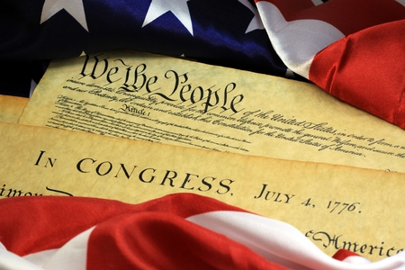 American Constitution and US Flag Stockfoto