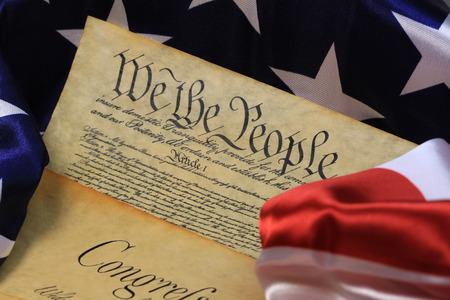 American Constitution and US Flag Stock Photo