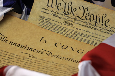 preamble: American Constitution and US Flag Stock Photo