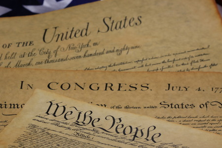 judgement day: American Constitution and US Flag Stock Photo