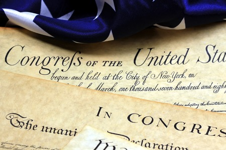 amendment: American Constitution and US Flag Stock Photo