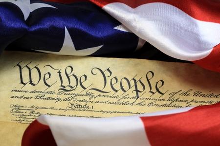 American Constitution and US Flag Archivio Fotografico