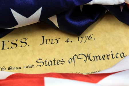 declaration: Preamble to the Constitution of United States Historical Document - We The People Bill of Rights Stock Photo