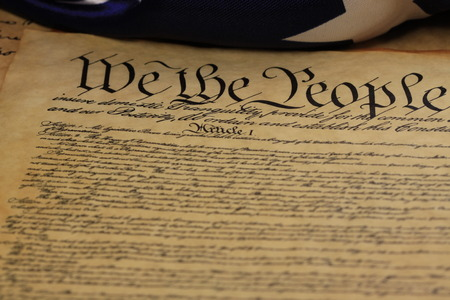 Preamble to the Constitution of United States Historical Document - We The People Bill of Rights Stock Photo