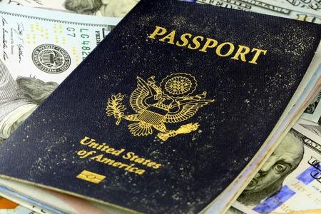 アメリカ合衆国の旅行パスポート - 観光、休暇の概念 写真素材