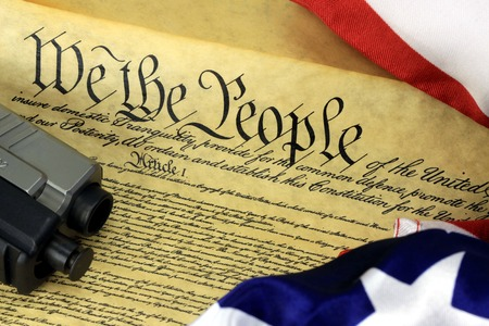 US Constitution with Hand Gun - Right To Keep and Bear Arms Archivio Fotografico