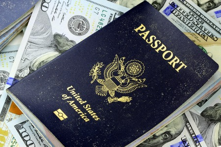 USA Passport with American Currency Travel documents tourism concept Imagens