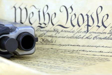 US Constitution with Hand Gun - Right To Keep and Bear Arms Stok Fotoğraf