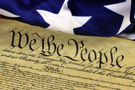 Historical Document US Constitution - We The People with American Flag Stok Fotoğraf
