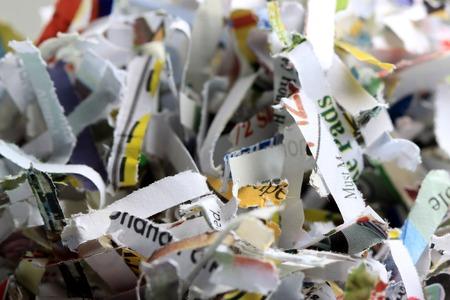細かく切られた書類ビジネス セキュリティ バック グラウンド リサイクル コンセプト
