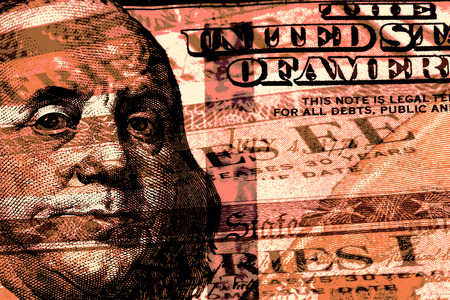 government: Double exposure one hundred dollar bill and US treasury savings bond Stock Photo