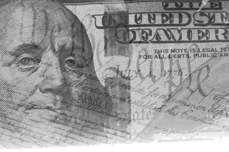 us constitution: Double exposure US constitution We the People and one hundred dollar bill - Finance and government concept