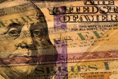 treasury: Double exposure one hundred dollar bill and US treasury savings bond - Finance and government concept