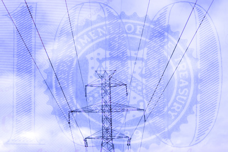 american currency: Double exposure high voltage power lines with American currency background - Expense and savings concept Stock Photo