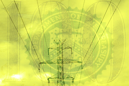 electric grid: Double exposure high voltage power lines with hundred dollar bill background