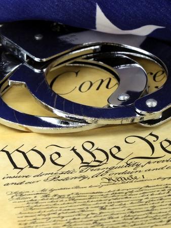 amendment: Manillas en EEUU Constituci�n - los derechos de la Cuarta Enmienda Foto de archivo