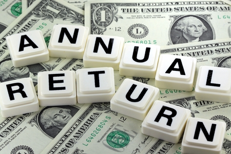 Het Woord jaarlijks rendement - Een term die wordt gebruikt in Business, Finance en Tax Concept Stockfoto - 44463319