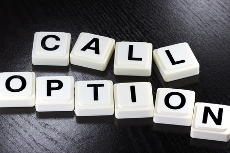 Het Woord calloptie - Een term die wordt gebruikt voor het bedrijfsleven, financiën en belastingen Concept Stockfoto