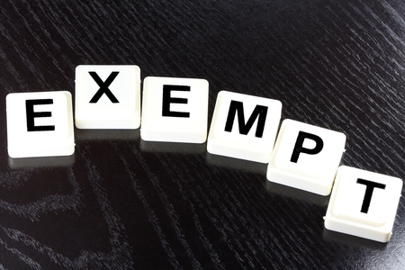 lingo: The Word Exempt  A Term Used in Business Finance and Tax Concept Stock Photo
