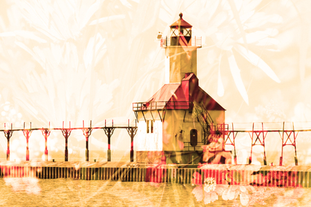 lake michigan lighthouse: Double exposure St. Joseph north pier lighthouse along shoreline of Lake Michigan