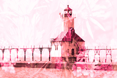 st  joseph: Double exposure St. Joseph north pier lighthouse along shoreline of Lake Michigan