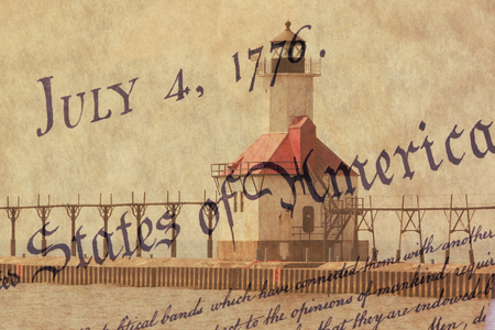 us constitution: Double exposure St. Joseph north pier lighthouse along shoreline of Lake Michigan with US constitution background Stock Photo