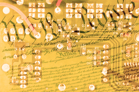 us constitution: Double exposure circuit board with US constitution background - American technology concept Stock Photo
