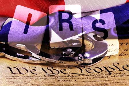 irs: US constitution with letters IRS - Government concept Stock Photo