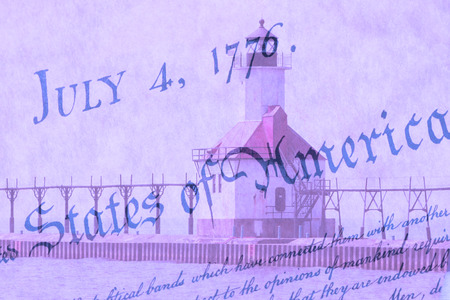 lake michigan lighthouse: Double exposure St. Joseph north pier lighthouse along shoreline of Lake Michigan with US constitution background Foto de archivo