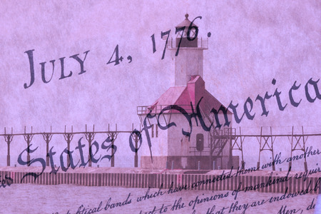 bill of rights: Double exposure St. Joseph north pier lighthouse along shoreline of Lake Michigan with US constitution background Stock Photo