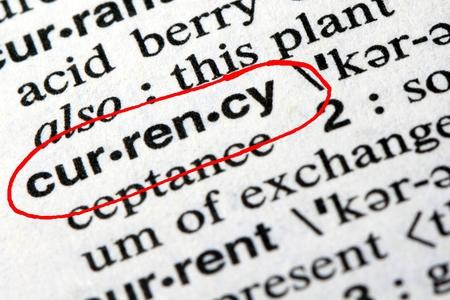 Het woord munt in het Engels woordenboek Stockfoto - 65835254