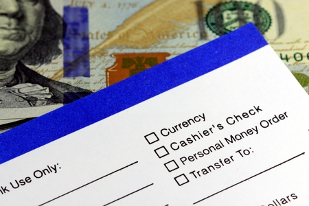 Business income banking transfer slip - Finance and accounting concept