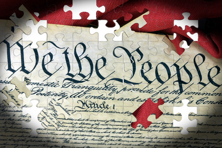 preamble: United States Bill of Rights Preamble to the Constitution and American Flag Stock Photo