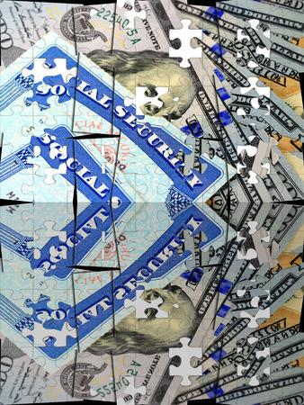 Sociale zekerheid kaart en de munt van de VS honderd dollar bill Stockfoto - 73337689