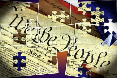 United States Bill of Rights Preamble to the Constitution and American Flag 版權商用圖片