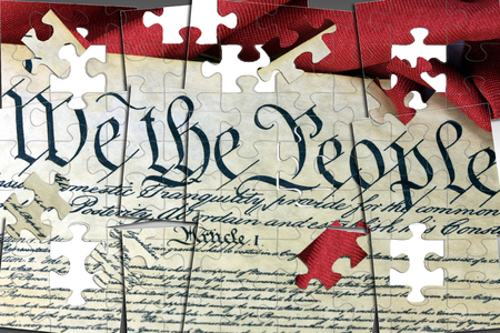 United States Bill of Rights Preamble to the Constitution and American Flag Stock Photo