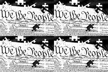 United States Bill of Rights Preamble to the Constitution and American Flag Stockfoto