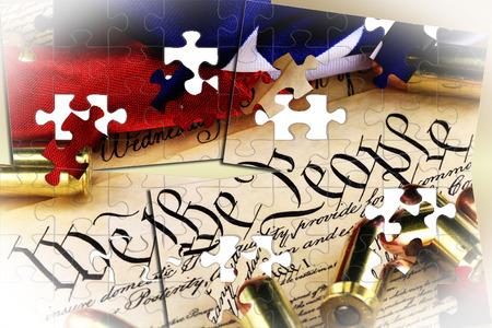 Munitie op de Amerikaanse Grondwet - Het recht wapens te dragen Stockfoto - 73337685