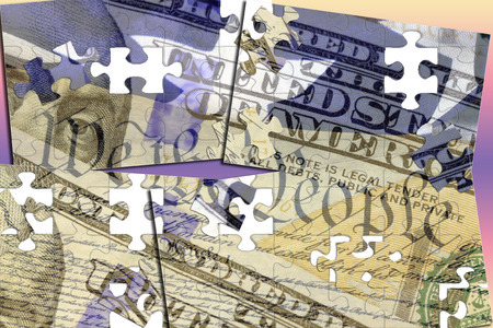 financial cliff: Double exposure US constitution We the People, American flag and one hundred dollar bill - Finance and government concept