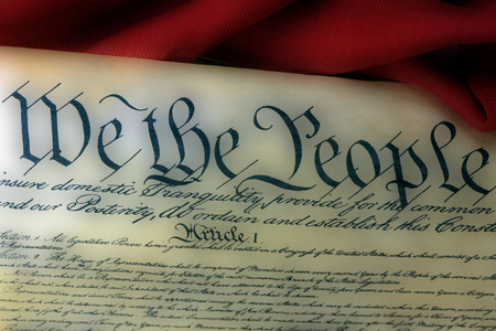 United States Bill of Rights Preamble to the Constitution and American Flag Stok Fotoğraf